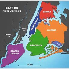New York City Carte Des Districts ('borough', Parfois Orthographié 'boro') Géographie