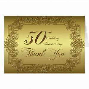 50th wedding anniversary thank you note card zazzle With thank you message for wedding anniversary