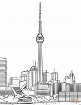 Cn Tower Coloring Toronto Pages Printable Drawing Canada Crafts Clipground Paper Categories sketch template