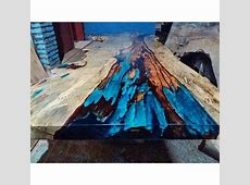 Live Edge Resin Wood Dining Table One of a kind! Table