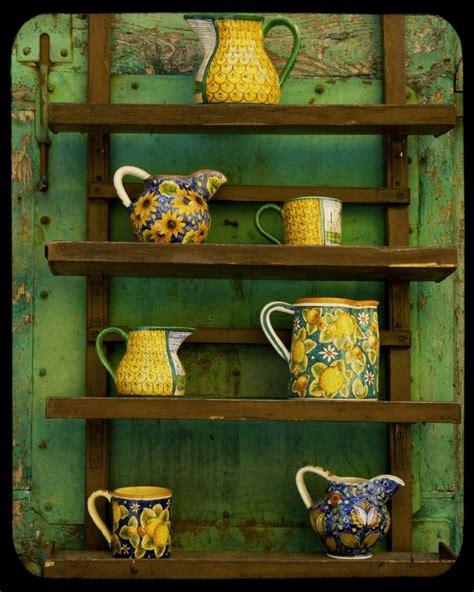 shabby chic crockery kitchen art pottery photo green yellow pitcher photograph art for the kitchen crockery shabby