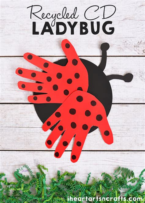 recycled cd ladybug craft for crafts for 686 | 4691c7b365fb9369a3feed6ac172e590