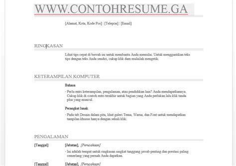 Cara Resume by Cara Buat Resume Guna Microsoft Word Curriculum Vitae Di