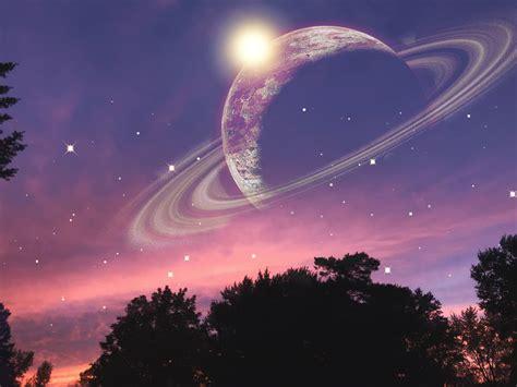 clouds pink sunset stars planet picsart