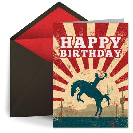 cowboy birthday  kids happy birthday ecard greeting