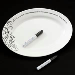 bridal shower signing plate oval ceramic wedding guest signature plate