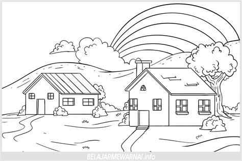 gambar mewarnai rumah dan pemandangan belajarmewarnai info