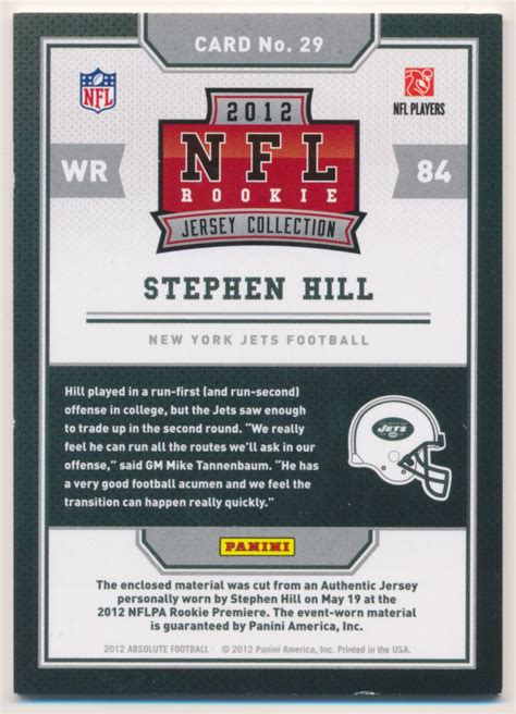 2012 Absolute Rookie Jersey Collection #29 Stephen Hill | eBay