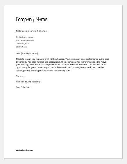notification letter  employee  shift change word