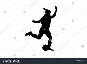 Silhouette Of A Female Soccer Player Preparing To Strike ...