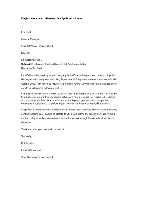 Employment Contract Renewal Job Application Letter - How to write an Employment Contract for