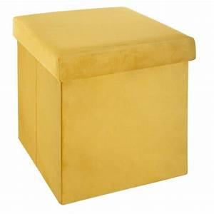 Pouf Jaune Moutarde : pouf pliant tess jaune moutarde pouf de rangement eminza ~ Teatrodelosmanantiales.com Idées de Décoration