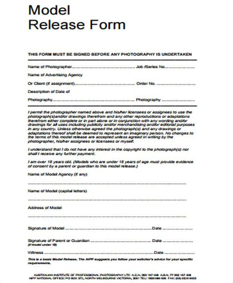 20461 model release form sle release form 12 exles in word pdf