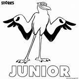 Coloring Storks Junior Printable sketch template