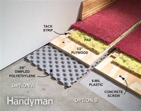basement floor water barrier how to carpet a basement floor the family handyman