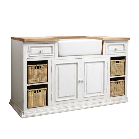 meuble cuisine avec evier meuble bas de cuisine avec évier en manguier blanc l 140