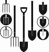 Shovel Clip Pitchfork Vector Illustrations Similar sketch template