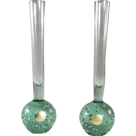 mid century bubble l pair kosta bubble bud vases in green mid century from