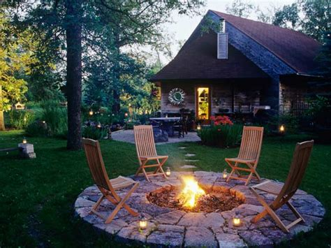 backyard patio ideas with pit landscaping