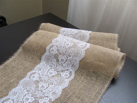 burlap table runner with lace burlap and lace table runner wedding event supplies