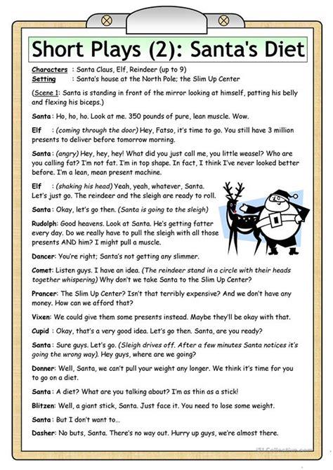 short plays  santas diet english esl worksheets