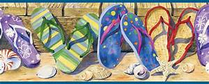 Beach Flip Flops Wallpaper Border BBC05071b