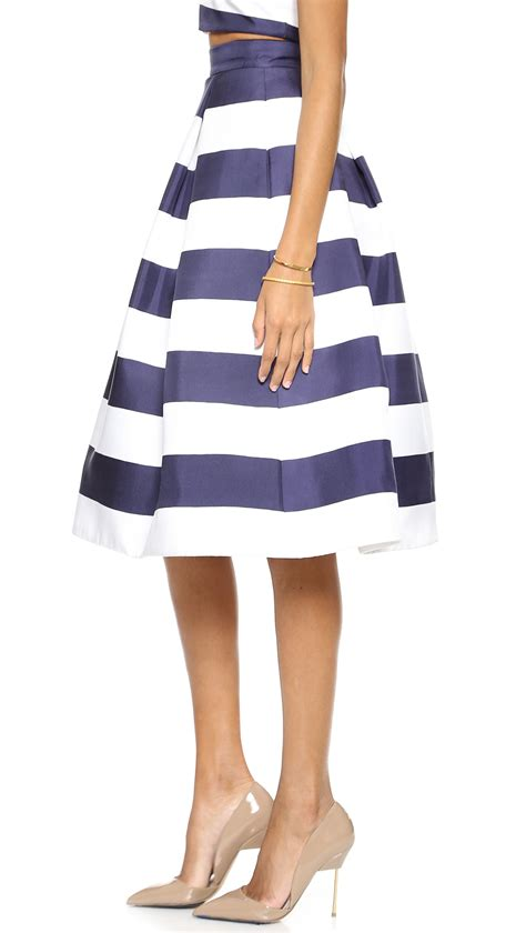 nicholas navy stripe silk skirt navy white stripe in blue navy white stripe lyst