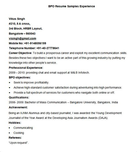 Sle Resume For 2 Years Experience In Bpo by Sle Bpo Resume Resume Cv Cover Letter