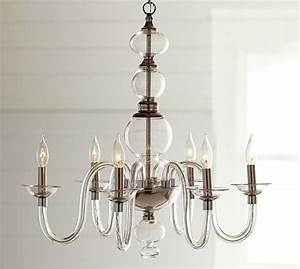 Blown glass chandelier pottery barn for Blown glass chandelier pottery barn