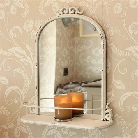 Antique Bathroom Mirror antique style mirror with shelf distressed metal scroll