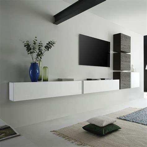 ensemble meuble tv murale 4 cubes et 2 meubles horizontaux