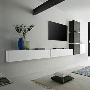 Meuble Sous Tv Suspendu : ensemble meuble tv murale 4 cubes et 2 meubles horizontaux ~ Teatrodelosmanantiales.com Idées de Décoration