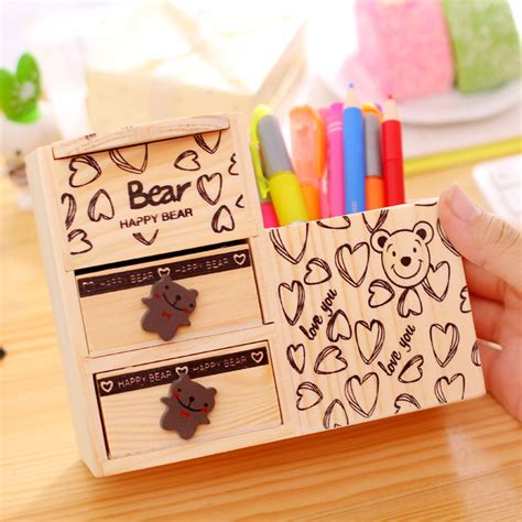 cute pen holder for desk korea stationery multifunctional wooden cute little bear