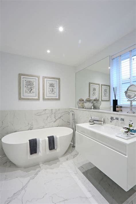 On Bathroom Wall Tiles by Half Tiled Marble Effect Walls And Floor Create A Dramatic
