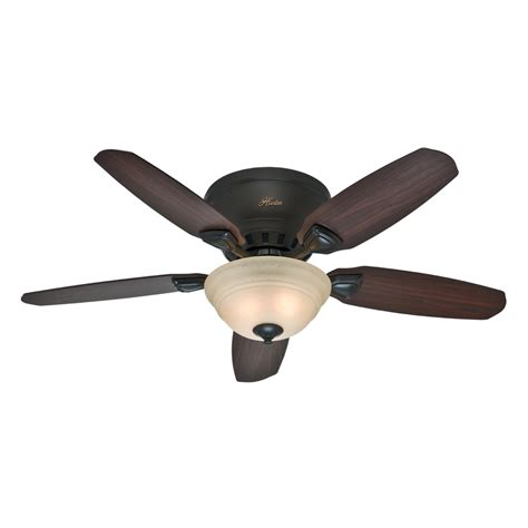 flush ceiling fan with light shop hunter louden 46 in premier bronze flush mount