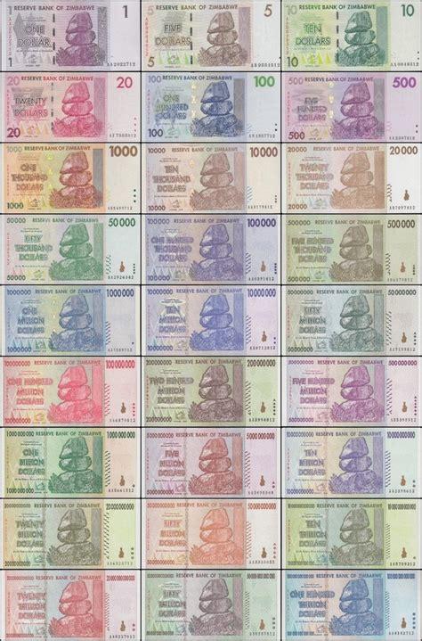 zimbabwe full set   trillion series  pieces dollar banknote  trillionscom