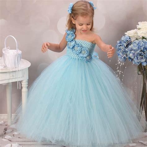 cute blue flower girls dresses  wedding rose pearls