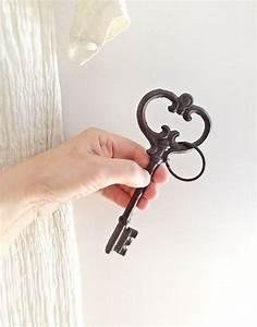 Antique Victorian Key, Vintage Iron Oversized Ornate Key