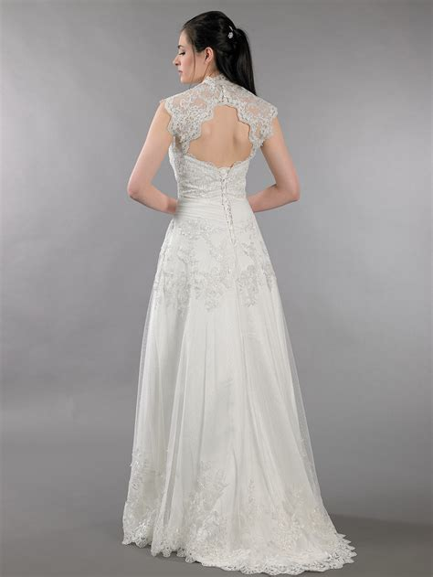 ivory strapless dot lace wedding dress with keyhole back
