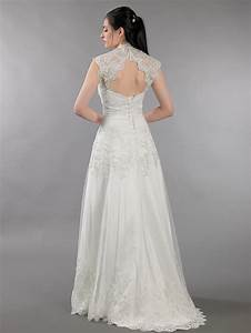 ivory strapless dot lace wedding dress with keyhole back With keyhole wedding dresses