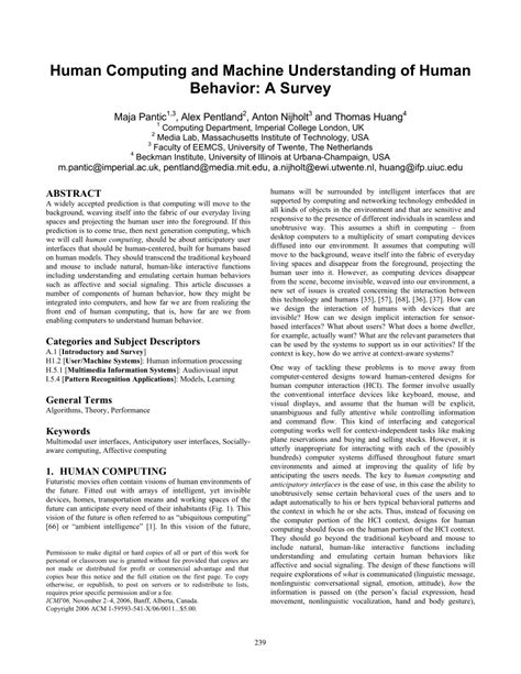 (PDF) Human Computing and Machine Understanding of Human