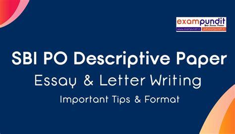 sbi po descriptive paper test essay letter writing