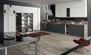 cuisine grise et blanc solutions pour la decoration With cuisine bois et gris
