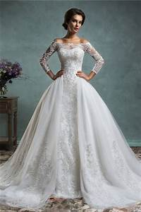 lace long sleeve ball gown wedding dress ipunya With long sleeve lace top wedding dress