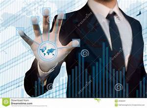 BusinessMan Using Futuristic Touch Screen To Conne Royalty ...