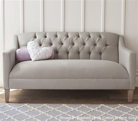 Pottery Barn Settee luella tufted settee pottery barn