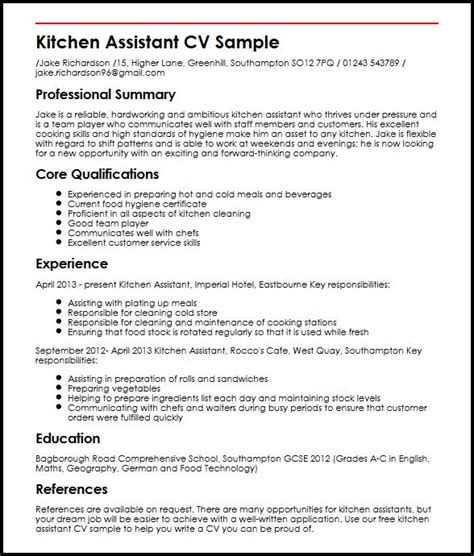 Assistant Cook Resume Format by Kitchen Assistant Cv Sle Myperfectcv