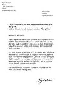 exemple lettre de resiliation salle de sport exemple de lettre de resiliation pour une salle de sport
