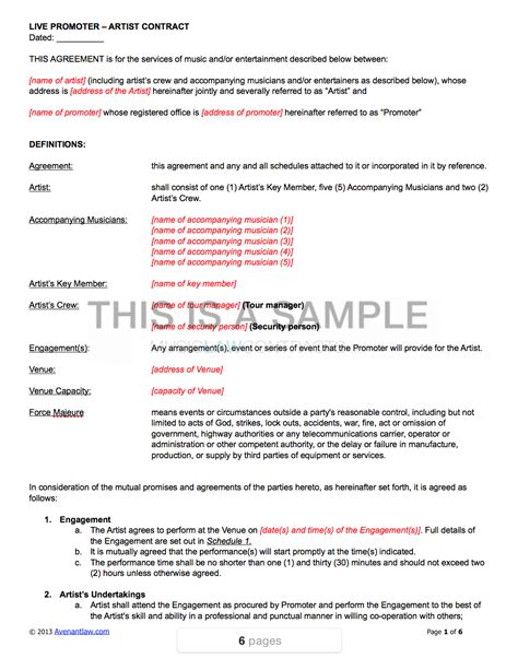 Free promoter of music, ndola, zambia. Live Promoter - Artist Contract Template