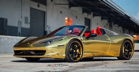 Golden Ferrari 458 Spider On Vellano Wheels